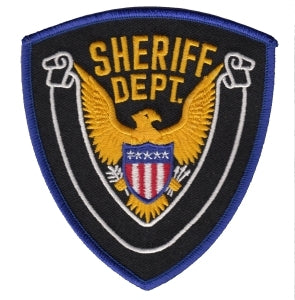 SHERIFF DEPT. w/Blank Scroll -Royal Border/Black Twill - 4 X 4-3/8