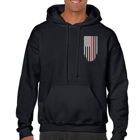 Hoodie - Thin Red Line American Flag, Honor & Respect