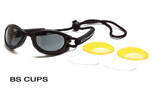 Body Specs BS-CUPS Extreme Sports Safety Goggle, Black Frame/Smoke Lens