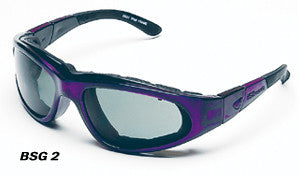 Body Specs BSG-2 Sunglasses/Goggles (ANSI & MIL-STD), Purple Passion Frame/Smoke Lens
