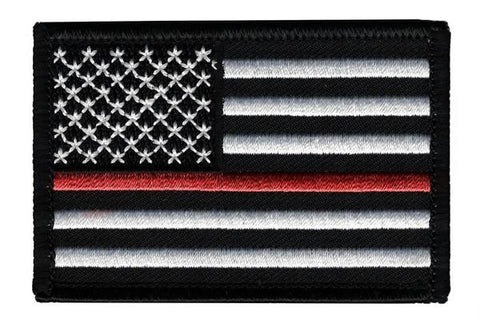 Thin Red Line American Embroidered Velcro Patch