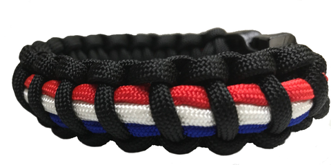 Black with Red, White, and Blue Paracord Bracelet