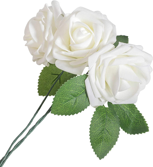 Artificial Flowers Ivory Roses - 50PK - BeautifulLife Store