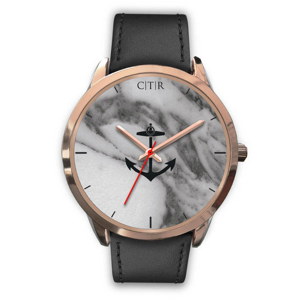 wc-fulfillment Rose Gold Watch Mens 40mm / Black Leather Rhode Island - Dark Marble