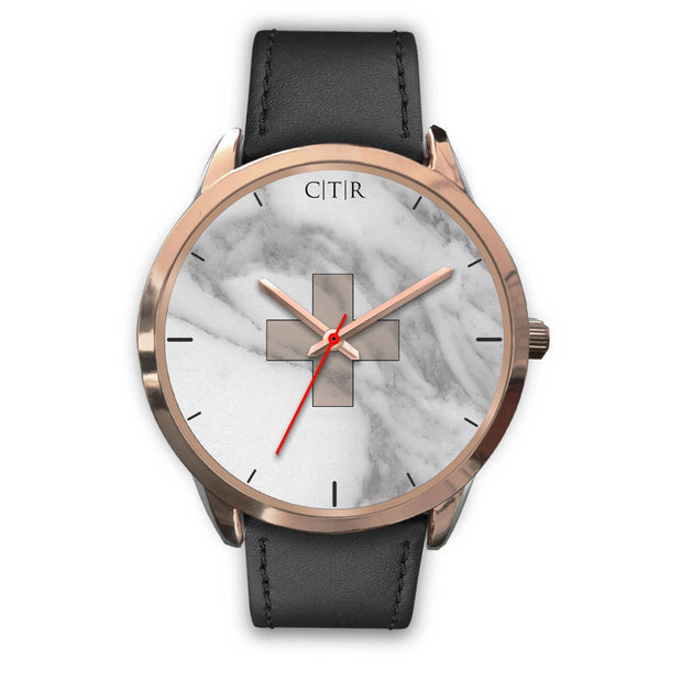 wc-fulfillment Rose Gold Watch Mens 40mm / Black Leather Switzerland - Light Marble