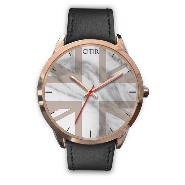 wc-fulfillment Rose Gold Watch Mens 40mm / Black Leather United Kingdom - Light Marble