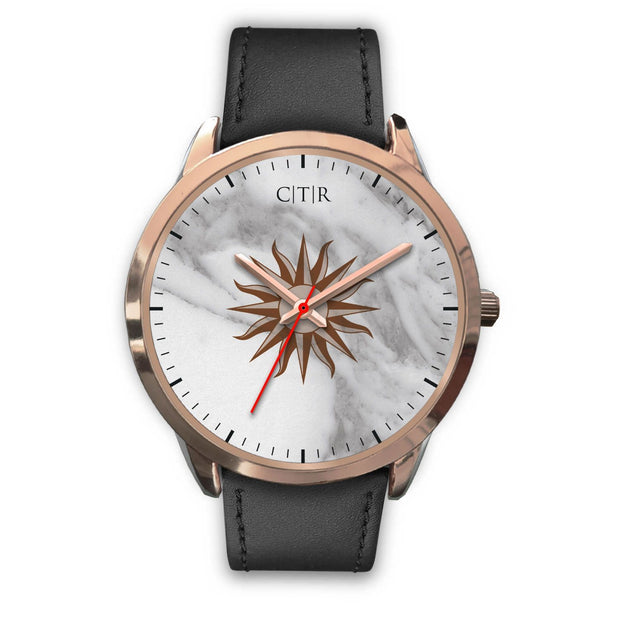 wc-fulfillment Rose Gold Watch Mens 40mm / Black Leather Uruguay - Light Marble
