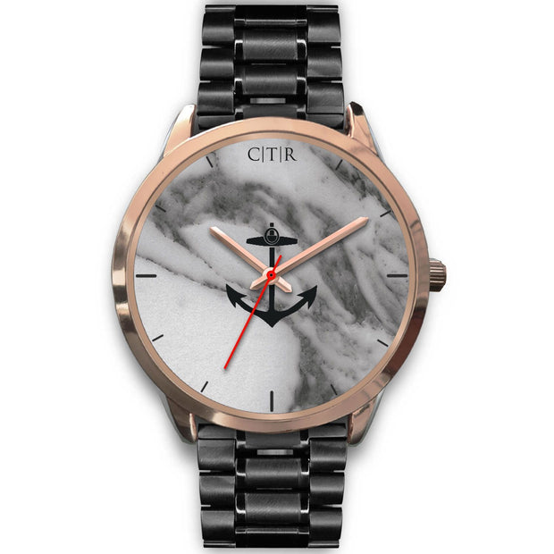 wc-fulfillment Rose Gold Watch Mens 40mm / Black Metal Link Rhode Island - Dark Marble