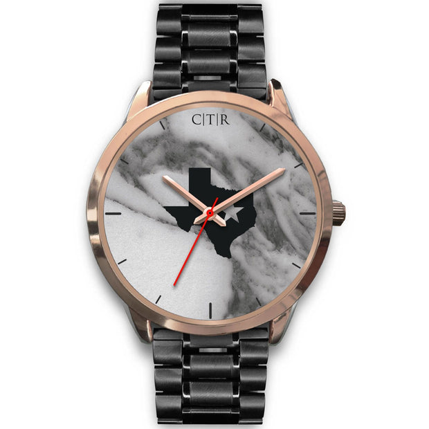 wc-fulfillment Rose Gold Watch Mens 40mm / Black Metal Link Texas - Dark Marble