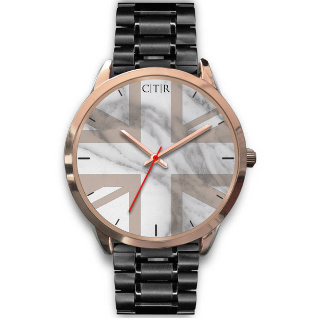 wc-fulfillment Rose Gold Watch Mens 40mm / Black Metal Link United Kingdom - Light Marble