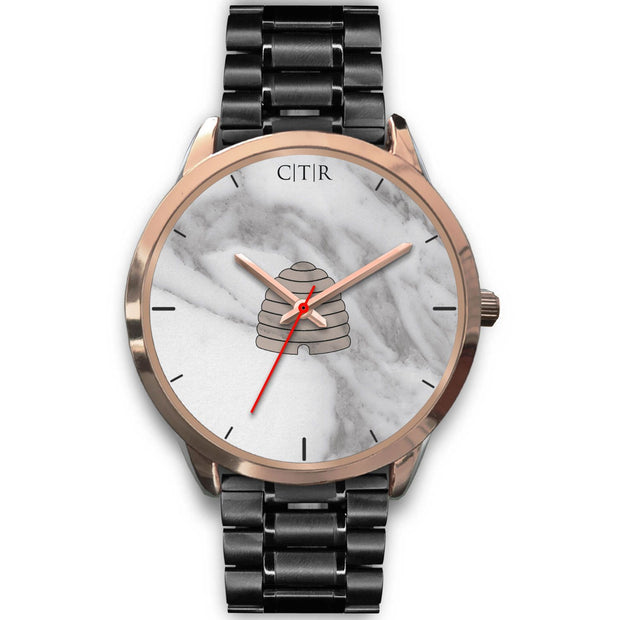 wc-fulfillment Rose Gold Watch Mens 40mm / Black Metal Link Utah - Light Marble