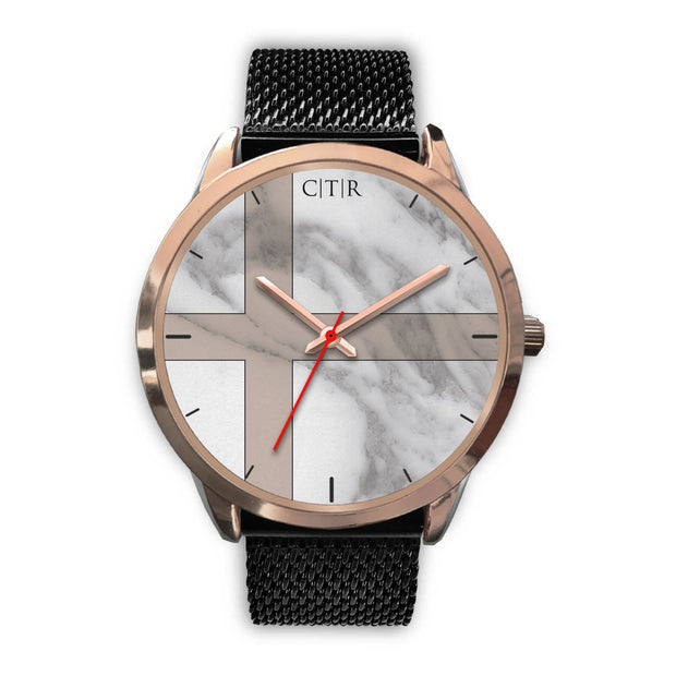 wc-fulfillment Rose Gold Watch Mens 40mm / Black Metal Mesh Sweden - Light Marble