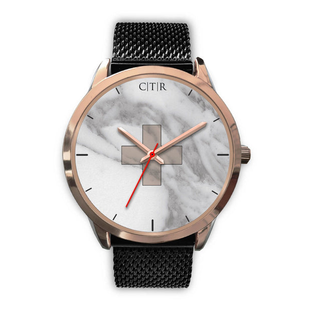 wc-fulfillment Rose Gold Watch Mens 40mm / Black Metal Mesh Switzerland - Light Marble
