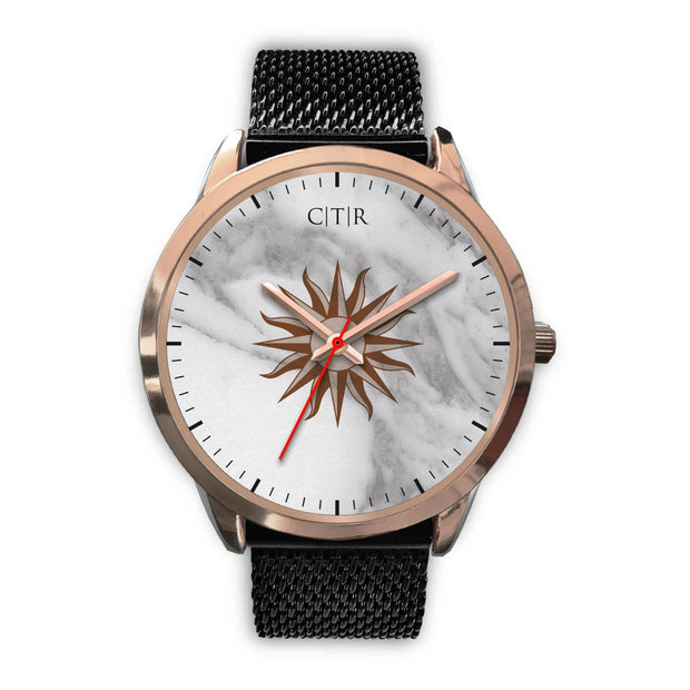 wc-fulfillment Rose Gold Watch Mens 40mm / Black Metal Mesh Uruguay - Light Marble