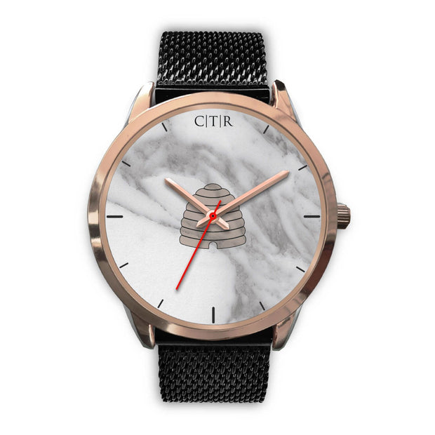 wc-fulfillment Rose Gold Watch Mens 40mm / Black Metal Mesh Utah - Light Marble