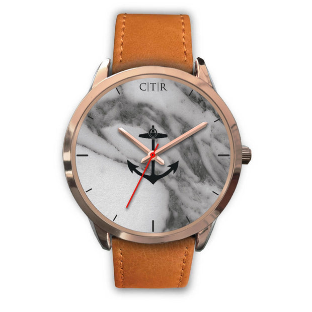wc-fulfillment Rose Gold Watch Mens 40mm / Brown Leather Rhode Island - Dark Marble