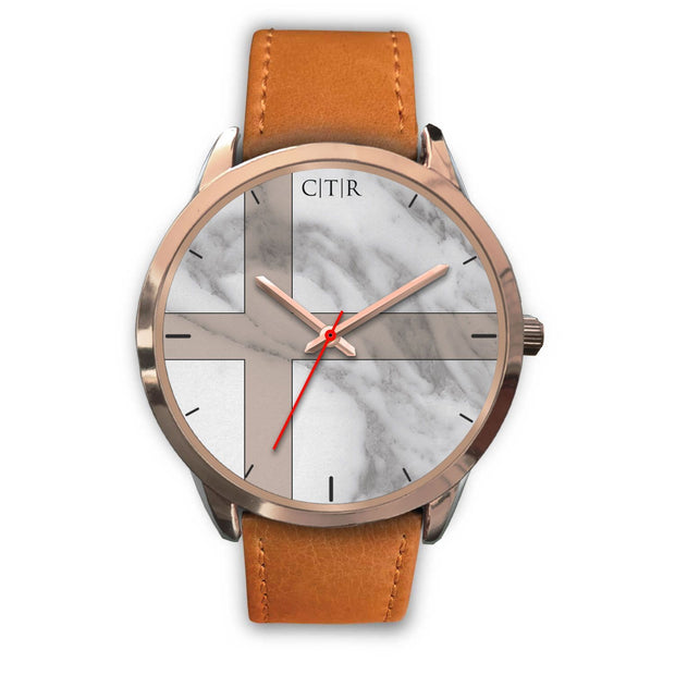 wc-fulfillment Rose Gold Watch Mens 40mm / Brown Leather Sweden - Light Marble