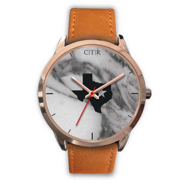 wc-fulfillment Rose Gold Watch Mens 40mm / Brown Leather Texas - Dark Marble