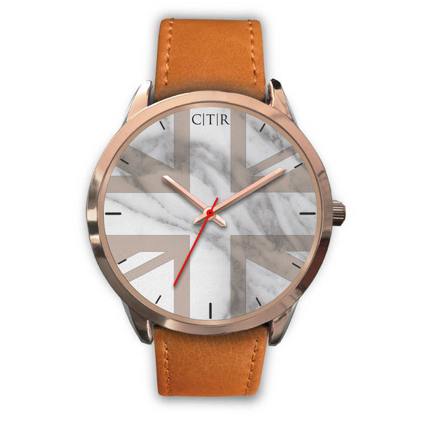 wc-fulfillment Rose Gold Watch Mens 40mm / Brown Leather United Kingdom - Light Marble