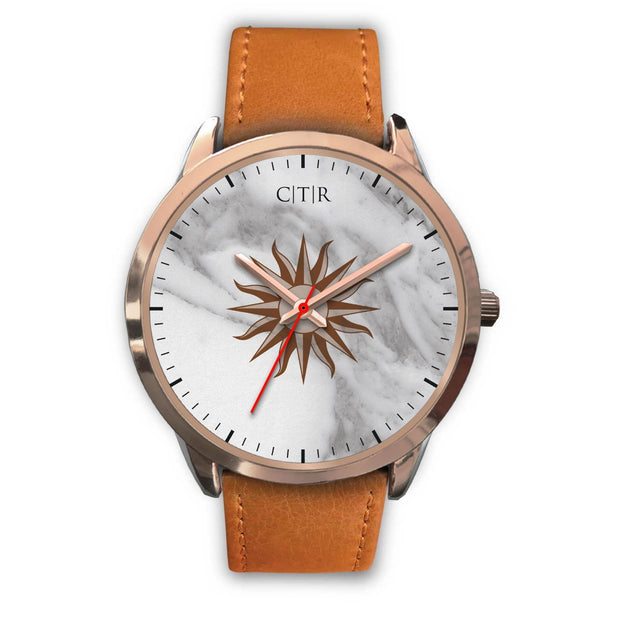 wc-fulfillment Rose Gold Watch Mens 40mm / Brown Leather Uruguay - Light Marble