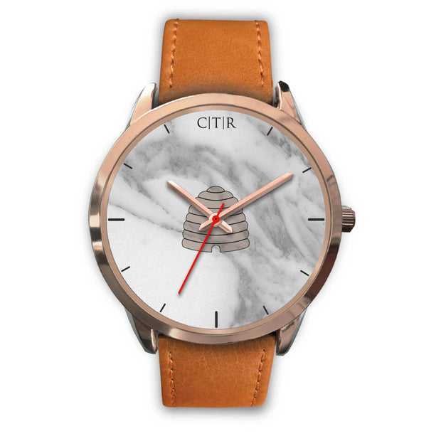 wc-fulfillment Rose Gold Watch Mens 40mm / Brown Leather Utah - Light Marble