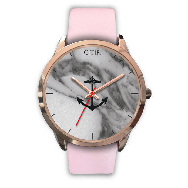wc-fulfillment Rose Gold Watch Mens 40mm / Pink Leather Rhode Island - Dark Marble