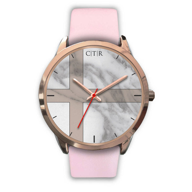 wc-fulfillment Rose Gold Watch Mens 40mm / Pink Leather Sweden - Light Marble