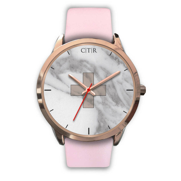 wc-fulfillment Rose Gold Watch Mens 40mm / Pink Leather Switzerland - Light Marble
