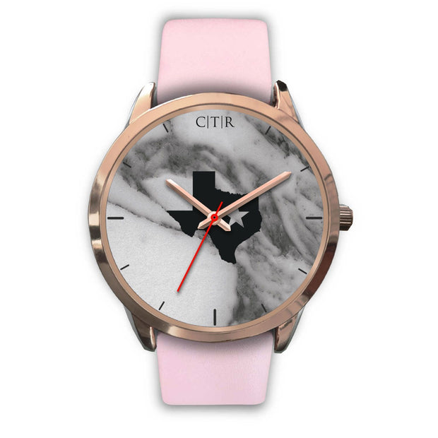 wc-fulfillment Rose Gold Watch Mens 40mm / Pink Leather Texas - Dark Marble