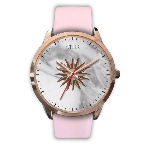 wc-fulfillment Rose Gold Watch Mens 40mm / Pink Leather Uruguay - Light Marble