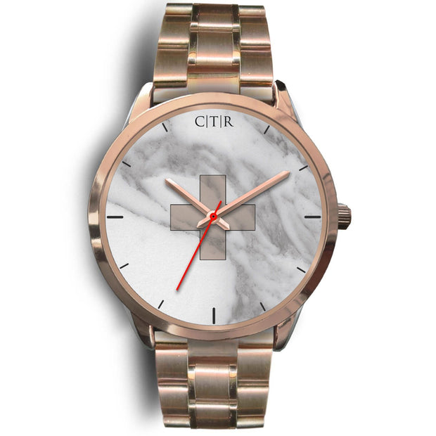 wc-fulfillment Rose Gold Watch Mens 40mm / Rose Gold Metal Link Switzerland - Light Marble