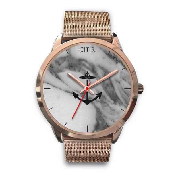 wc-fulfillment Rose Gold Watch Mens 40mm / Rose Gold Metal Mesh Rhode Island - Dark Marble