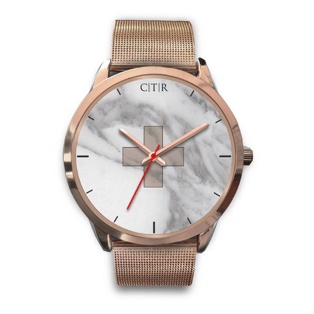 wc-fulfillment Rose Gold Watch Mens 40mm / Rose Gold Metal Mesh Switzerland - Light Marble