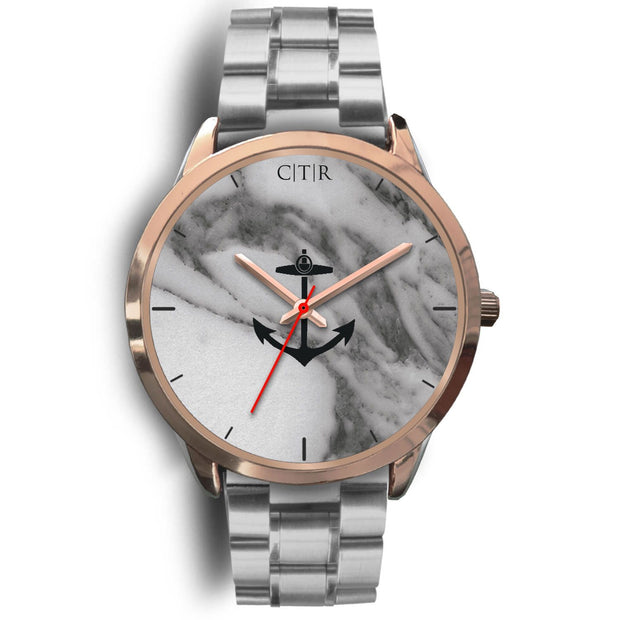 wc-fulfillment Rose Gold Watch Mens 40mm / Silver Metal Link Rhode Island - Dark Marble