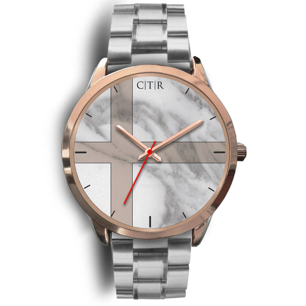 wc-fulfillment Rose Gold Watch Mens 40mm / Silver Metal Link Sweden - Light Marble