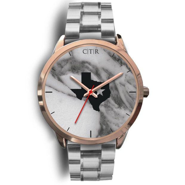 wc-fulfillment Rose Gold Watch Mens 40mm / Silver Metal Link Texas - Dark Marble