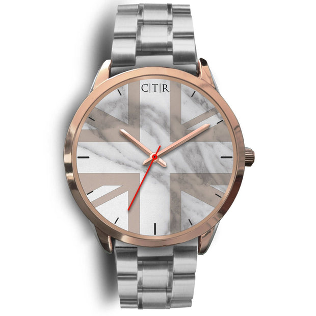 wc-fulfillment Rose Gold Watch Mens 40mm / Silver Metal Link United Kingdom - Light Marble