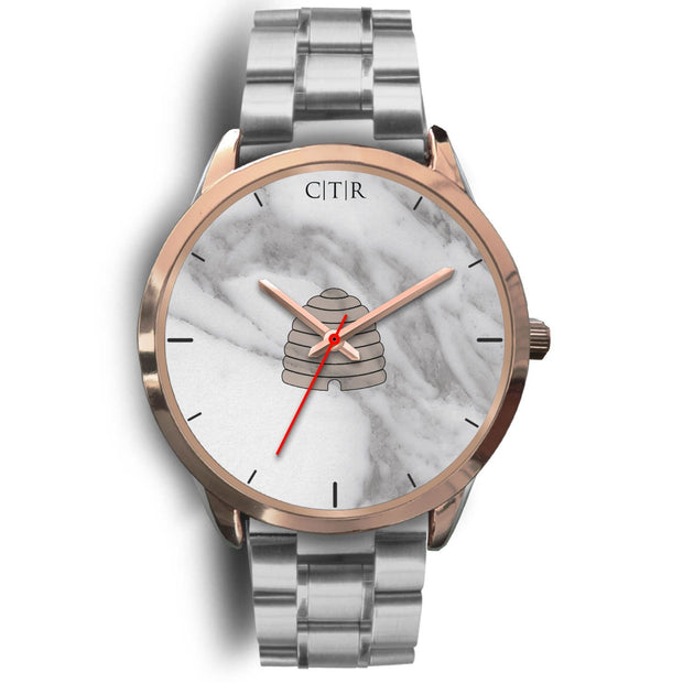 wc-fulfillment Rose Gold Watch Mens 40mm / Silver Metal Link Utah - Light Marble