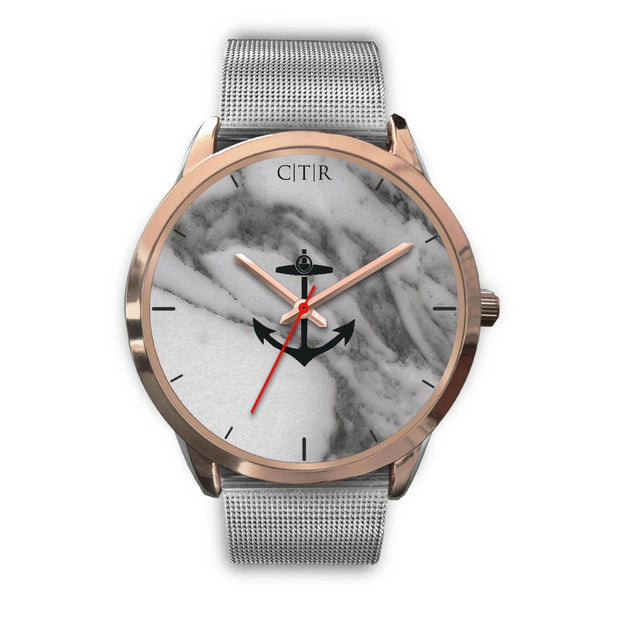 wc-fulfillment Rose Gold Watch Mens 40mm / Silver Metal Mesh Rhode Island - Dark Marble