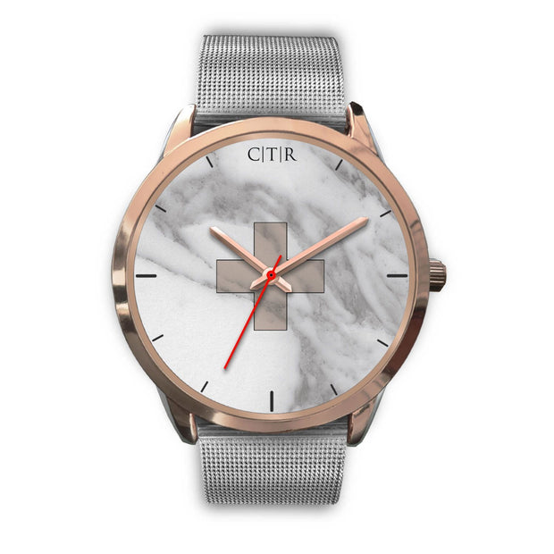 wc-fulfillment Rose Gold Watch Mens 40mm / Silver Metal Mesh Switzerland - Light Marble