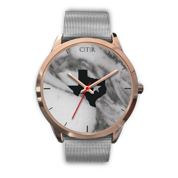 wc-fulfillment Rose Gold Watch Mens 40mm / Silver Metal Mesh Texas - Dark Marble