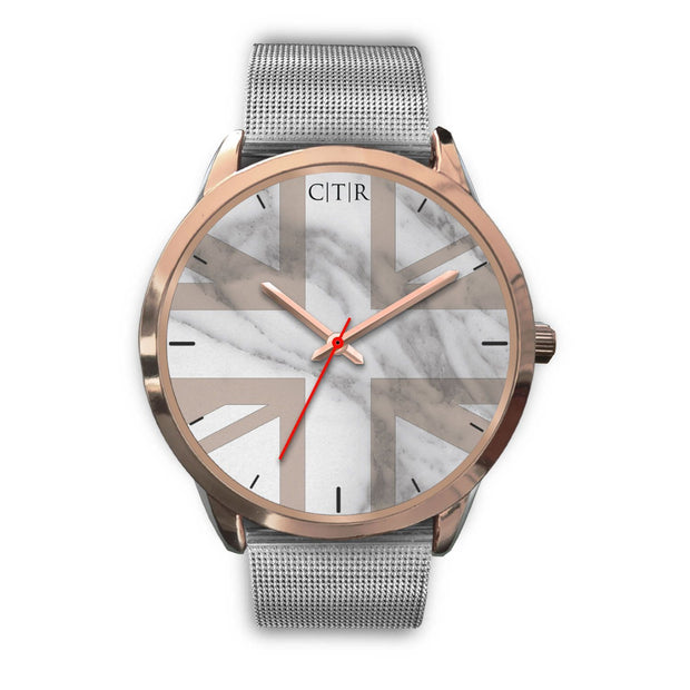 wc-fulfillment Rose Gold Watch Mens 40mm / Silver Metal Mesh United Kingdom - Light Marble