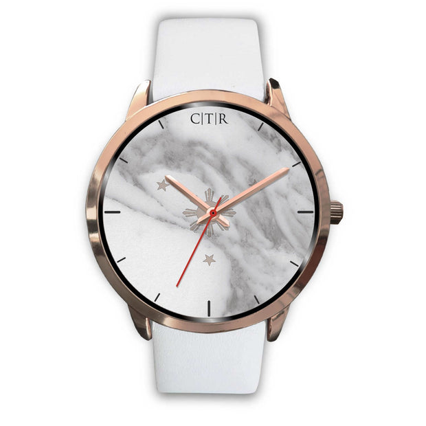 wc-fulfillment Rose Gold Watch Mens 40mm / White Leather Philippines - Light Marble
