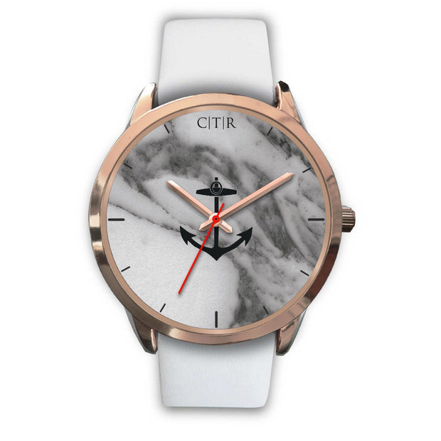 wc-fulfillment Rose Gold Watch Mens 40mm / White Leather Rhode Island - Dark Marble