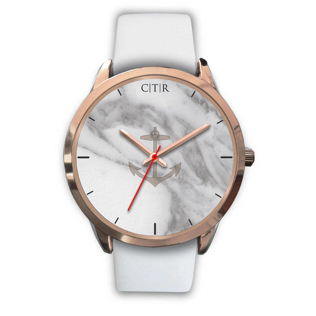 wc-fulfillment Rose Gold Watch Mens 40mm / White Leather Rhode Island - Light Marble