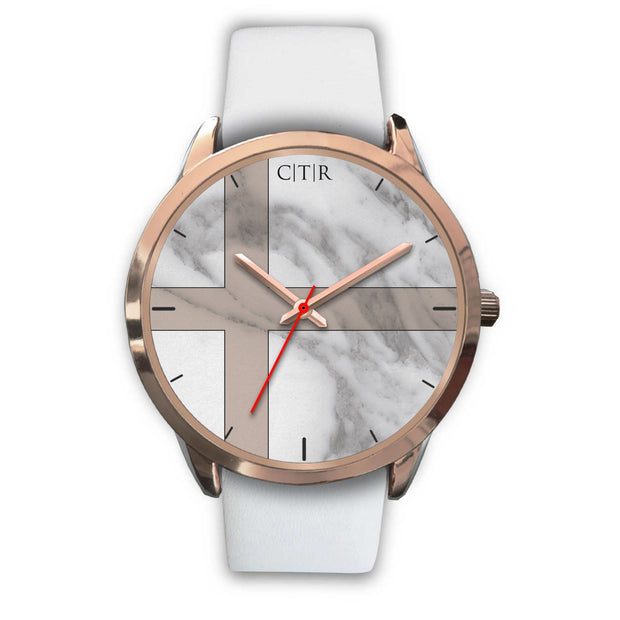 wc-fulfillment Rose Gold Watch Mens 40mm / White Leather Sweden - Light Marble