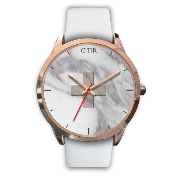 wc-fulfillment Rose Gold Watch Mens 40mm / White Leather Switzerland - Light Marble