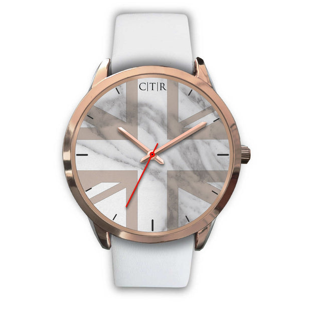 wc-fulfillment Rose Gold Watch Mens 40mm / White Leather United Kingdom - Light Marble