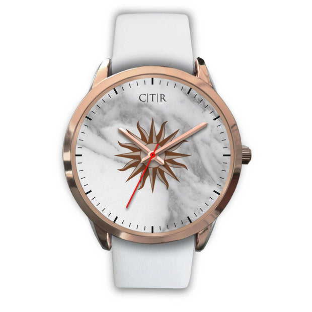 wc-fulfillment Rose Gold Watch Mens 40mm / White Leather Uruguay - Light Marble
