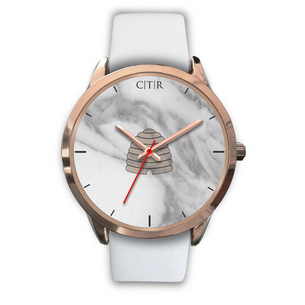 wc-fulfillment Rose Gold Watch Mens 40mm / White Leather Utah - Light Marble